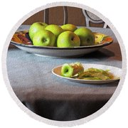 Still Life With Apples And Chair Round Beach Towel