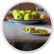 Still Life With Apples And Chair Round Beach Towel by Lynda Lehmann