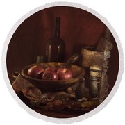 Still Life With Apples, Bottles, Baskets And Shakers. Round Beach Towel