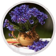 Still Life With Blue Flowers Round Beach Towel