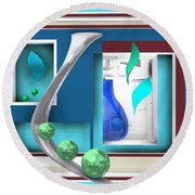 Still Life With Blue Glass In The Room Round Beach Towel