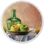 Still Life With Bottle Round Beach Towel by Janet King