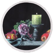 Still Life With Candle Round Beach Towel