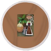 Still Life With Countru Girl Round Beach Towel