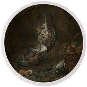 Still Life With Dead Pheasant Round Beach Towel by Jean-Baptiste-Simeon Chardin