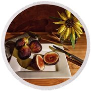 Still Life With Flower And Figs Round Beach Towel