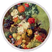 Still Life With Flowers And Fruit Round Beach Towel