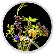Still Life With Flowers Paint Round Beach Towel