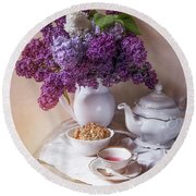 Round Beach Towel featuring the photograph Still Life With Fresh Lilac And China Pots by Jaroslaw Blaminsky
