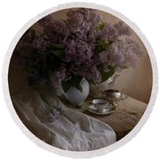 Still Life With Fresh Lilac And Dishes Round Beach Towel