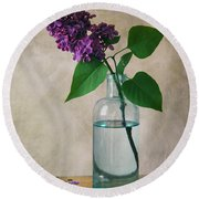 Round Beach Towel featuring the photograph Still Life With Fresh Lilac by Jaroslaw Blaminsky