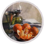 Round Beach Towel featuring the photograph Still Life With Fresh Tangerines And Oil Lamp by Jaroslaw Blaminsky