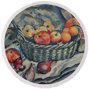 Still Life With Fruit And Vegetables Round Beach Towel