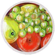 Still Life With Fruit. Painting Round Beach Towel