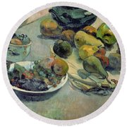 Still Life With Fruit Round Beach Towel by Paul Gauguin