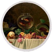 Still Life With Goldfish 1873 Round Beach Towel by Padre Art