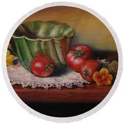 Still Life With Green Bowl Round Beach Towel