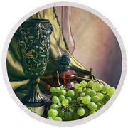Round Beach Towel featuring the photograph Still Life With Green Grapes by Jaroslaw Blaminsky