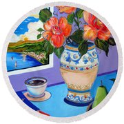 Still Life With Holy Bible Round Beach Towel
