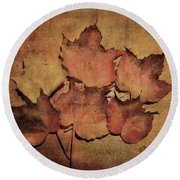 Still Life With Leaves Round Beach Towel