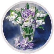 Still Life With Lilacs And Lilies Of The Valley Round Beach Towel