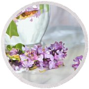 Still Life With Lilacs Round Beach Towel