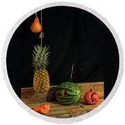 Still Life With Melon Round Beach Towel