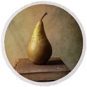 Round Beach Towel featuring the photograph Still Life With Old Books And Fresh Pear by Jaroslaw Blaminsky