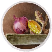 Still Life With Onion Lemon And Ginger Round Beach Towel