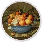 Still Life With Oranges And Lemons In A Wan-li Porcelain Dish  Round Beach Towel by Jacob van Hulsdonck