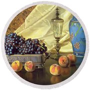 Still Life With Peaches Round Beach Towel by Edward Chalmers Leavitt