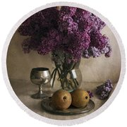 Round Beach Towel featuring the photograph Still Life With Pears And Fresh Lilac by Jaroslaw Blaminsky
