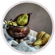 Still-life With Pears Round Beach Towel