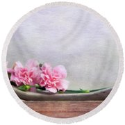 Still Life With Pink Carnations And Driftwood Round Beach Towel