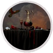 Still Life With Pomegranate Round Beach Towel