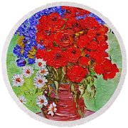 Still Life With Poppies And Blue Flowers Round Beach Towel