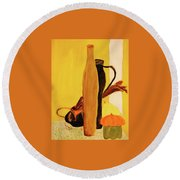 Still Life With Pumpkins  Round Beach Towel