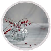 Still Life With Red Berries Round Beach Towel