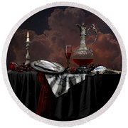 Still Life With Red Wine Round Beach Towel