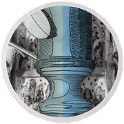 Still Life With Retablo And Lamp Base Round Beach Towel by Stan  Magnan
