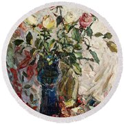 Still Life With Roses Round Beach Towel