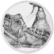 Still Life With Shoe And Spray Bottle Round Beach Towel