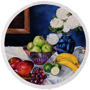Still Life With Snowballs Round Beach Towel