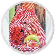Still Life With Stripes Round Beach Towel