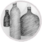 Still Life With Three Bottles Round Beach Towel by Michelle Calkins