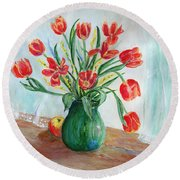 Still Life With Tulips And Apples - Painting Round Beach Towel