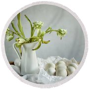 Still Life With Tulips And Eggs Round Beach Towel