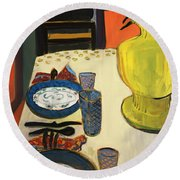 Still Life With Two Plates Round Beach Towel