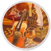 Still Life With Violin And Candle Round Beach Towel