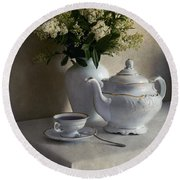 Still Life With White Tea Set And Bouquet Of White Flowers Round Beach Towel